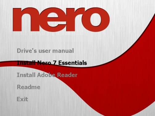Nero 7 Welcome Screen
