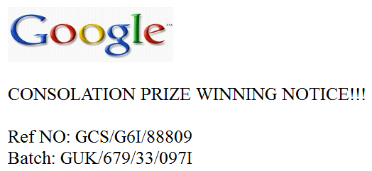 NOT a Google prize notice.