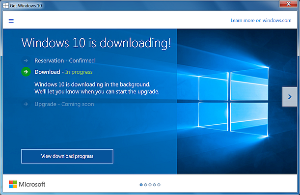 Windows 10 Download Status
