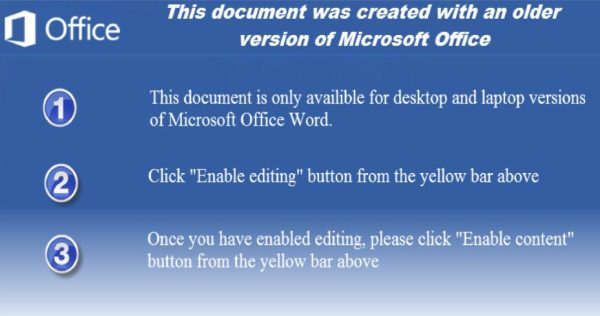 """This document was created with an older version of Microsoft Office"""