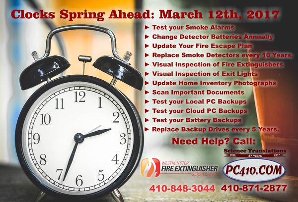 2017 Spring Clocks Change March 12th